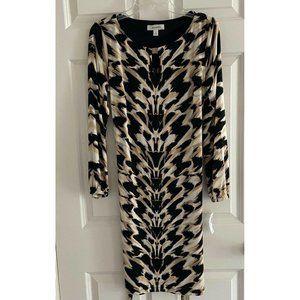 DRESS BARN Animal Print L/S Belted Midi Dress NWT